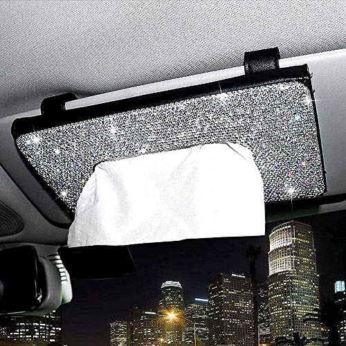 Car Tissue Box Visor, Bling Bling Sun Visor Tissue Box, Napkin Tissue Holder With Crystal Diamond Pu Leather Auto Napkin Clip Storage Pocket (Beige)