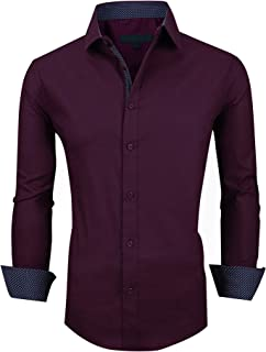 XTAPAN Men's Casual Dress Shirt-Long Sleeve Regular Fit Business Button Down Shirt