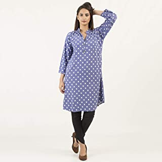 Blue Polka Dots Casual & Party Wear Cotton Printed Stitched Kurta Kurti Shirts Tops For Women/Girls - Ladies Collection