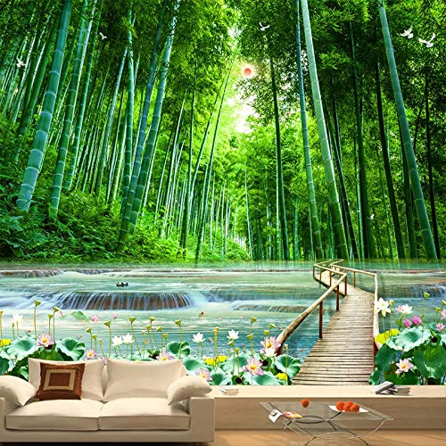 XIAOHUKK Self-Adhesive 3D Wallpaper Mural Modern Bamboo Forest Wooden Bridge Natural Scenery Art Mural Wall Decals Living Room Bedroom Home Decoration Waterproof Stickers