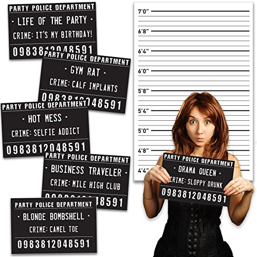 Funny Mugshot Sign Photobooth Selfie Props for Birthday Parties, Bachelorette Games, Event Decoration Idea (Birthday Party With Backdrop)