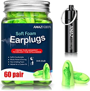 Ear Plugs AMAZKER Bell-Shaped Ultra Soft Earplugs Perfect For Sleeping Snoring Working Study Travel With Aluminum Carry Case No Cords Noise Reduction SNR-35dB NRR-32dB 60 Pairs (AM-1006) (Green)