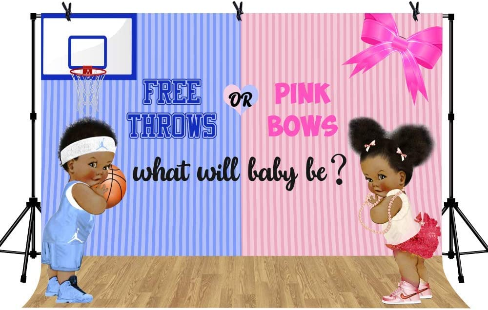 15x10ft Vinyl Gender Reveal Backdrop Boy or Girl Free Throws or Pink Bows Photography Background Gender Reveal Party Banner Backdrops LYLS1284 for Party Decoration Birthday YouTube Videos School Photo