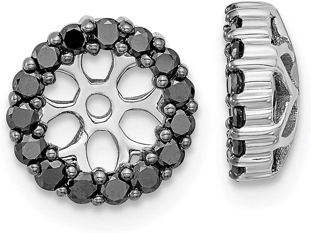 14K White Gold Black Diamond Round Earring Jackets 5.25 mm Opening for Stud Earrings (0.45Cttw)