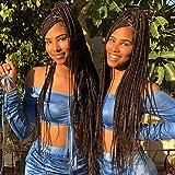 30 Inch 6 Packs/Lot Box Braids Crochet Hair 3X Box Braids Synthetic Hair Crochet Braids Hair Extensions 24 Roots/Pcs Pre Looped Medium (30inch, 1B#)