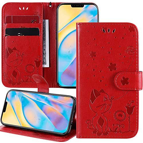 Capa carteira XYX para Moto G9 Play, capa flip de couro PU em relevo Cat Bee compatível com Motorola Moto G9 Play, vermelha