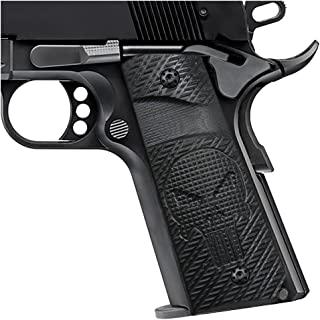 Cool Hand 1911 Slim Grips, Screws Included, Full Size (Commander/Government), 3/16 Thin, Black G10, Ambi Safety Cut, Punisher Skull Texture, These Grips Only Work with Short Bushings