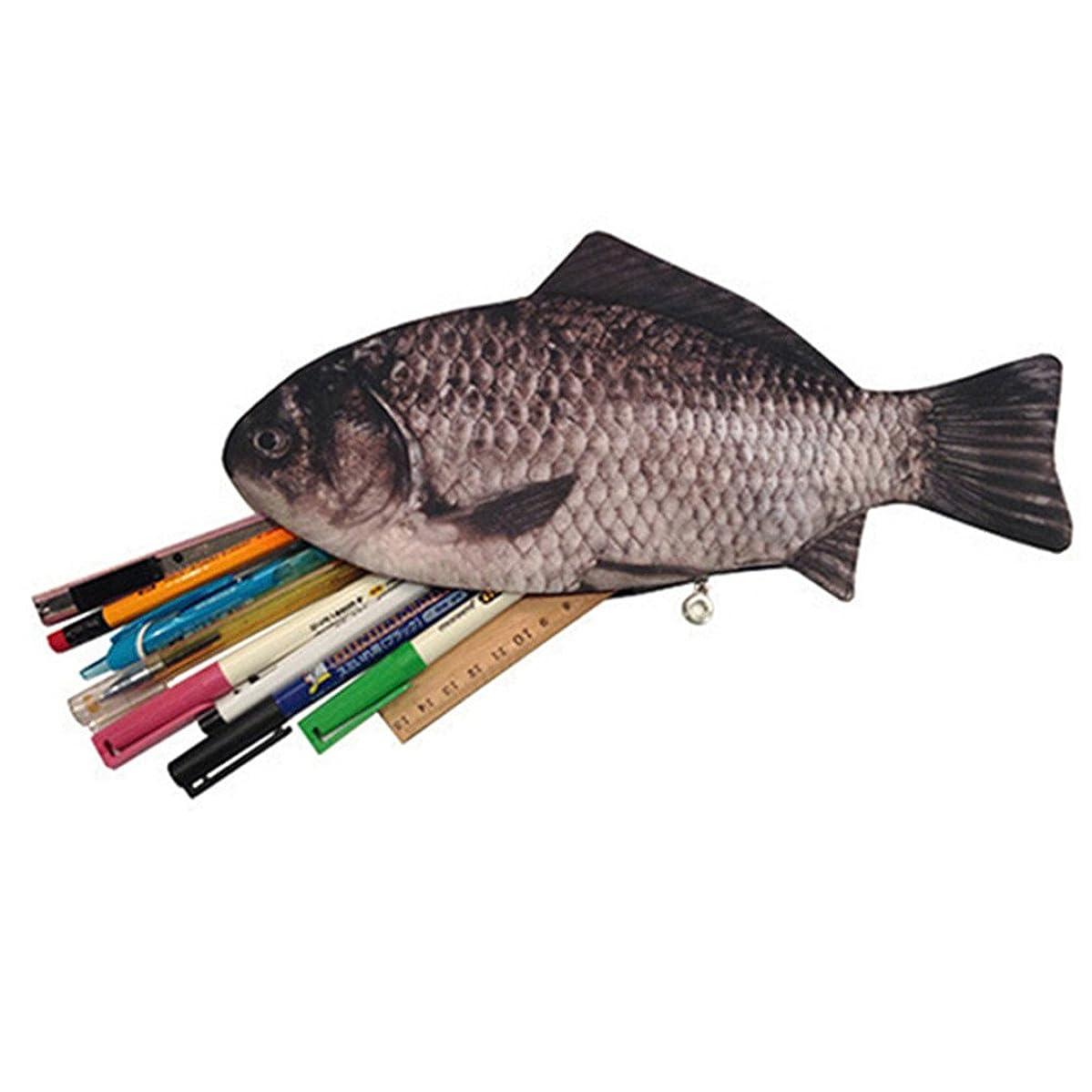 Gotoole Women's Creative Pen Bag Fish Shape Penceil case Oxford Fabric Zip Wallet