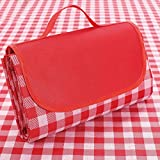 Supzone Red and White Picnic Blanket Family Picnic Blankets Waterproof Foldable Picnic Mat Outdoor Picnic Blanket Mat Thickening Picnic Mat Folding Picnic Mat for Family Beach Park or Outing