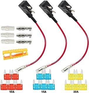 FULARR 3Pcs Premium ACS Add-A-Circuit Fuse Tap, Piggy Back Blade Fuse Holder Kit with Wire Harness, Free Mini Blade Fuses X 15Pcs, Fuse Puller X 1Pcs –– 12V / 24V