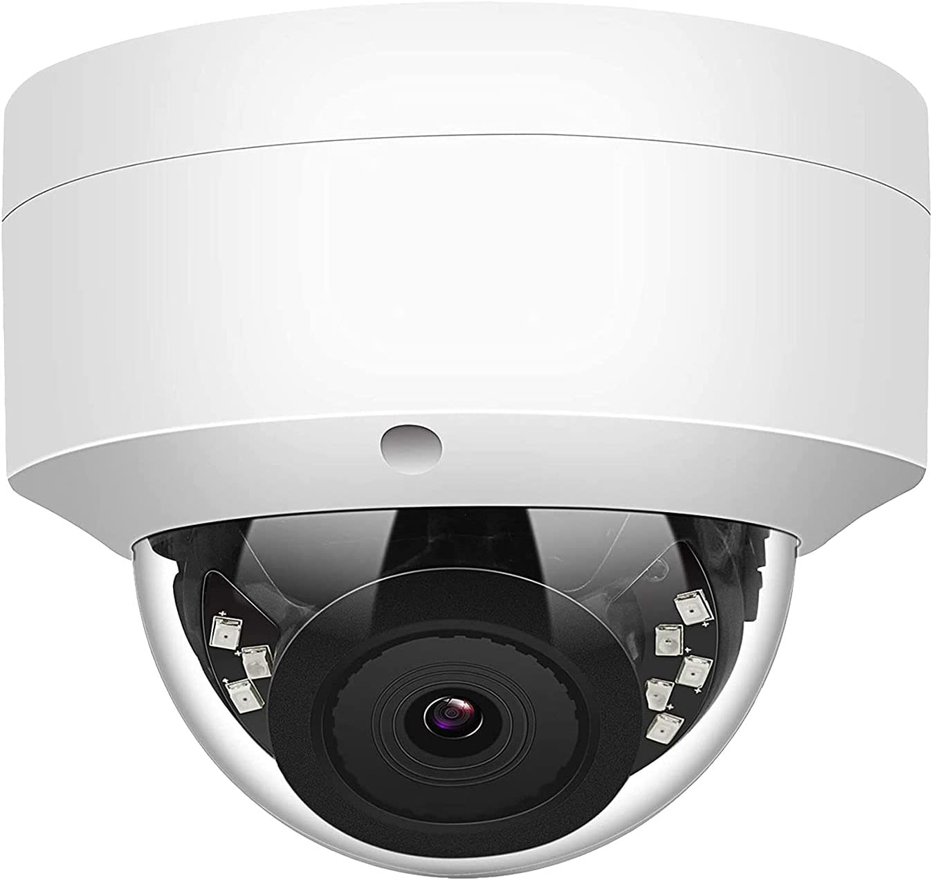 LINOVISION 5MP POE IP Dome Security Camera with Audio, 2.8mm Wide Angle, 100ft IR Outdoor Security Camera Vandal-Proof and IP66 Waterproof with Remote Access