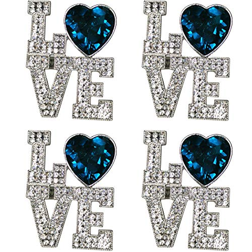 Getfitsoo Valentine's Day Napkin Rings Set of 4, Love Letters Napkin Ring Holders with Diamonds, Rhinestones Napkin Ring for Valentine Decor Dinner Weddings Family Gatherings Table Decor