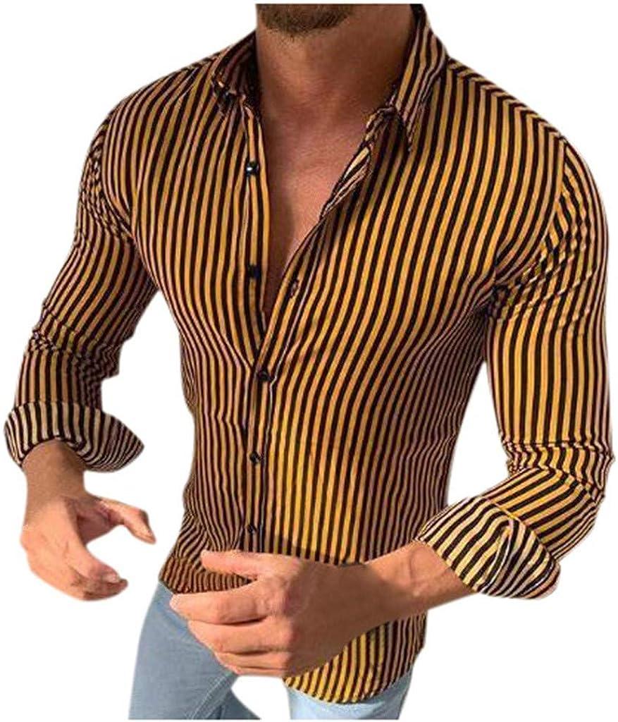 YAYUMI Men's Striped Slim Long Sleeve Buttons Lapels Shirt Fashion Casual Blouse Autumn Tops Yellow