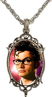 DragonWeave David Tennant Portrait Doctor Who Antique Silver Handmade Cameo Pendant Necklace