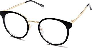 SOJOS Retro Round Blue Light Blocking Glasses for Women TR90 Computer Eyeglasses SJ5055