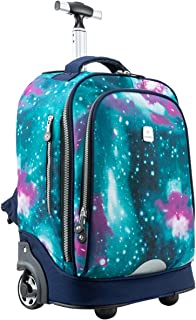 18 inches Wheeled Rolling Backpack for Business Adults and School Students Books Travel Bag
