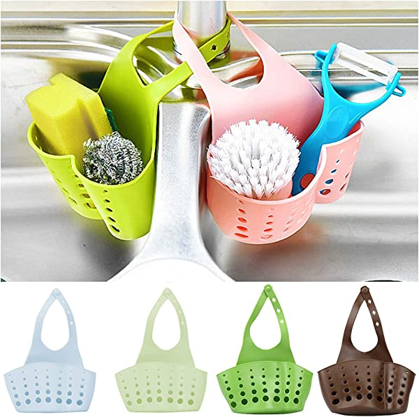 Fantastick Kitchen Faucet Sink Hanging Sponge Bag Holder Drains Water Storage Baskets