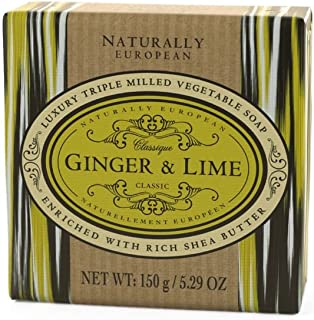 Naturally European Ginger & Lime Wrapped Luxurious Triple Milled Vegetable Soap Bar 150g