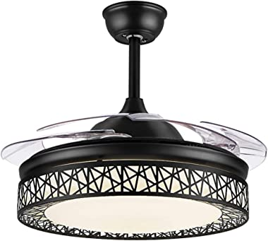 42 Inch Ceiling Fan with Light, Modern Invisible Ceiling Fan Chandelier with Retractable Blade, Dimmable LED 3 Lighting 3 Spe