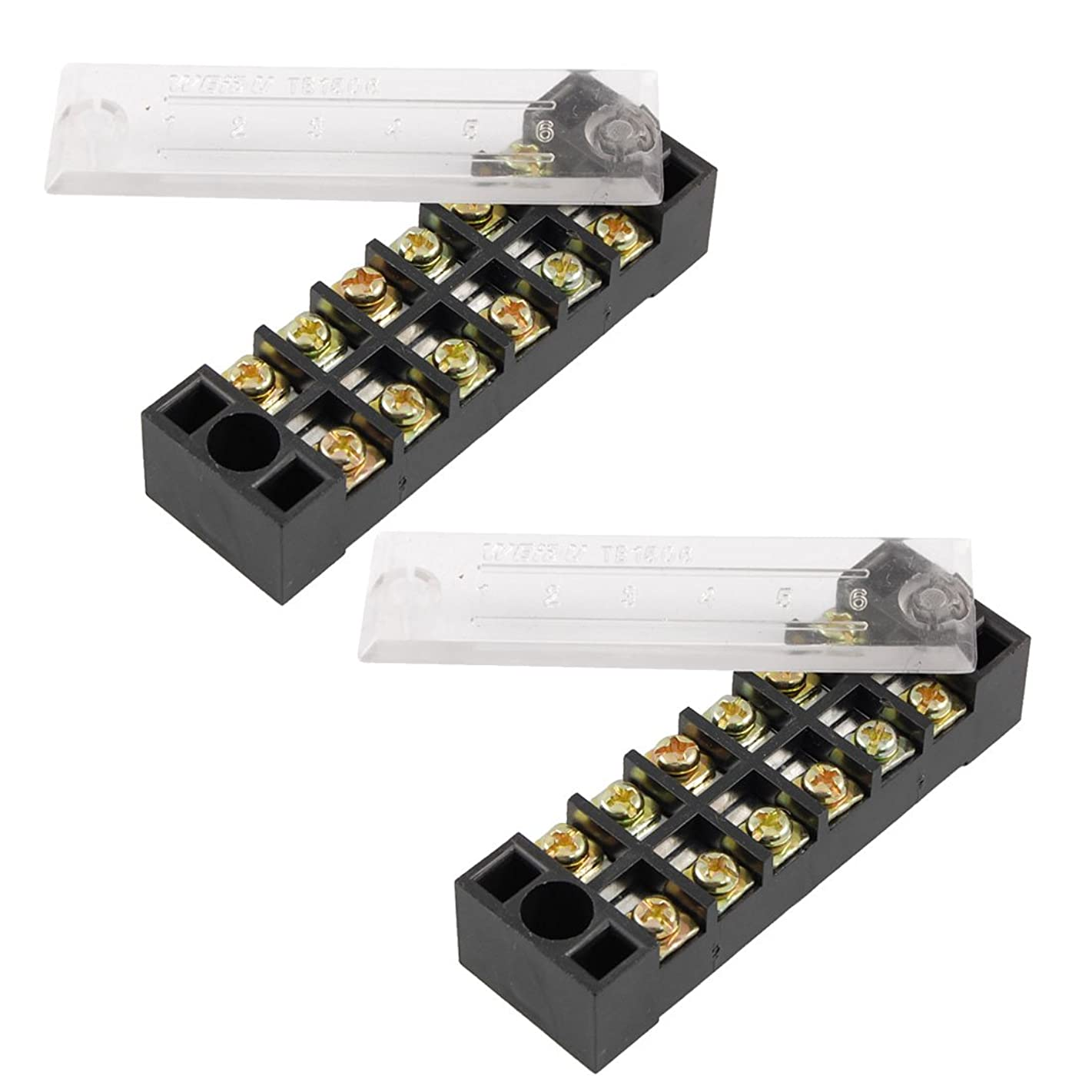 Uxcell 600V 15A 6 Position 12 Screw Terminal Cable Blocks Barrier 2 Pcs