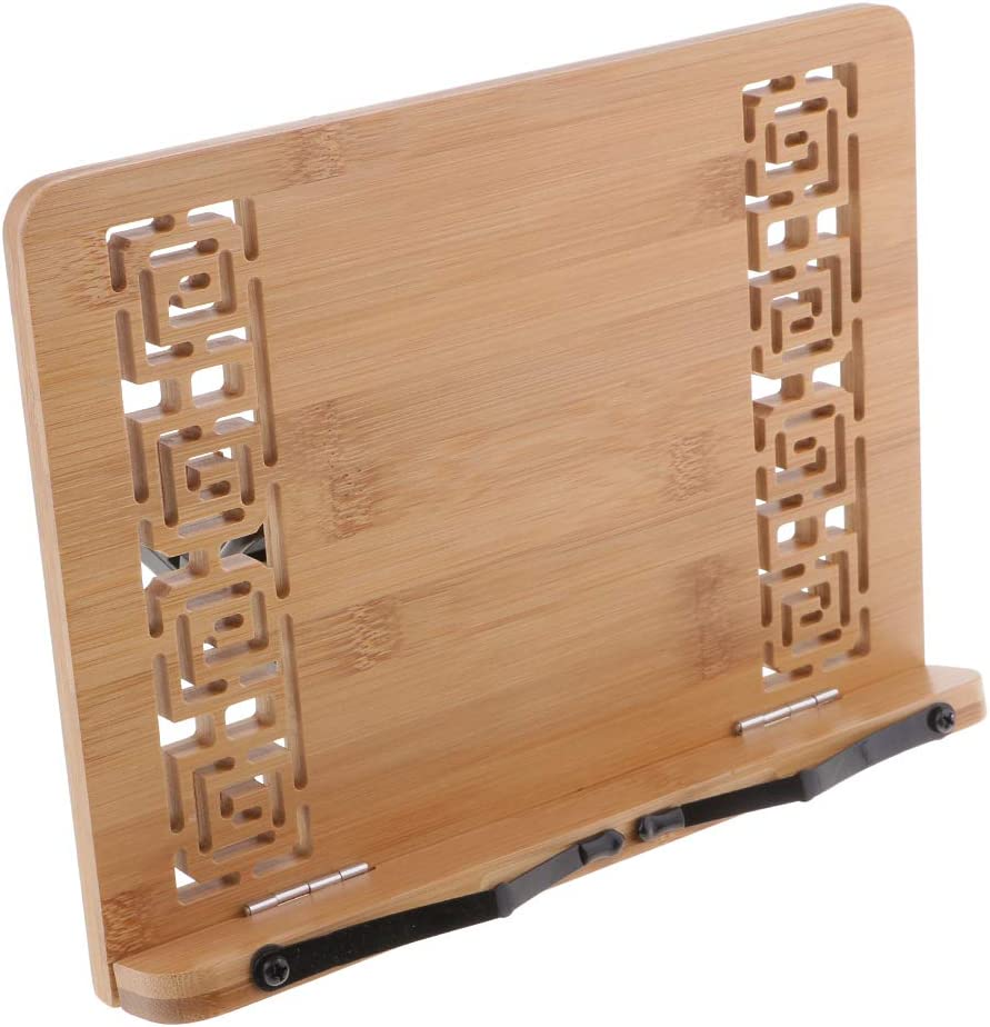 AMLESO Bamboo Book Stand Adjustable Cookbook Reading Holder Wood