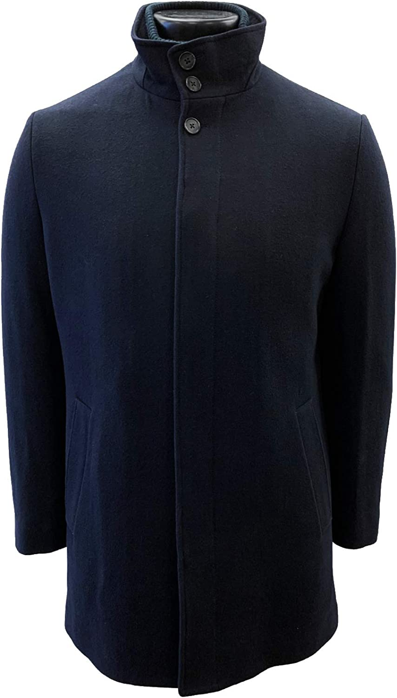 CARDINAL OF CANADA Men's Car Coat, Wool Blend Stand Collar Trench Coat Winter Jacket for Men
