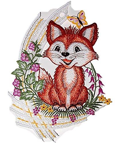 Fensterbild 20x30 cm + Saugnapf Plauener Spitze Stickerei Fuchs Schmetterling farbig Spitzenbild Frühling Sommer Herbst