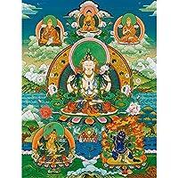 仏教タンカリビングルームポーチ装飾的なぶら下がっている絵画タンカ住宅生地家の装飾的な絵画 (Color : フリー, Size (Inch) : 40X54CM No Frame)