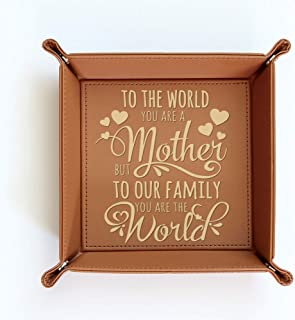 BELLA BUSTA-Engraved Leather Tray for Mom-Gift for Mother (Tray (Mother))
