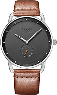 Mens Watch,Ultra-Thin Minimalist Black Wrist Watches for Men Fashion Waterproof Dress Quartz Dress Leather Strap