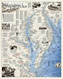 National Geographic: Shipwrecks of Delmarva Wall Map (28 x 35 inches) (National Geographic Reference Map)