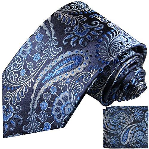 Cravate homme noir bleu paisley ensemble de cravate 2 Pièces ( longueur 165cm )