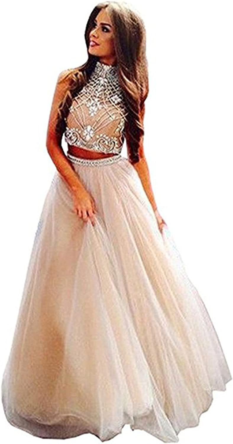 BridalAffair Women's Noble 2 Piece High Neck Embellished Bodice Tulle Ball Gown Quinceanera Dress Prom Dress