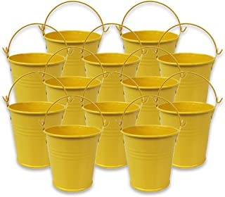 Just Artifacts Mini 3-Inch Height Metal Crayon/Pencil Holder Favor Bucket Pail (12pcs, Yellow) - Metal Favor Buckets and Craft Supply Holders for School, Birthday Parties and Events!
