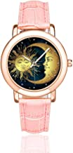 InterestPrint Abstract Paisley Mandala Women's Rose Gold-plated Watch Pink Leather Strap Wrist Watches