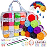 BNK Acrylic Yarn Crochet Knitting Kit 24 * 40g with 24 Assorted Colours for Handcrafts Craft, Including Crochet Hooks, Knitting Needle,Markers, Hairbands,Hairpins,Pompom Makers(3 Sizes)
