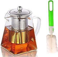 Szklany dzbanek do herbaty z zaparzaczem ze stali nierdzewnej i szczotkami do czyszczenia, odporny na ciepło szklany dzban...