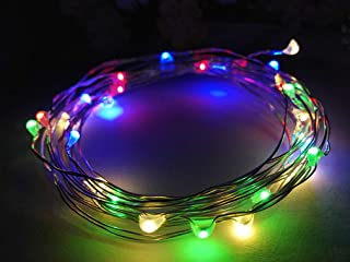 Viewpick 10ft(3m) 30 LEDs Multicolored Fairy Lights Silver Wire Lights Waterproof Led String Starry Lights Battery Powered Light Rope Lights for Seasonal Decorative Christmas Holiday Wedding Parties