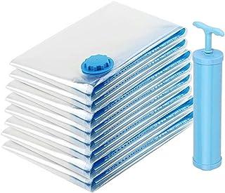 Glamouric 布団圧縮袋 8枚入 ふとん収納 衣類圧縮袋 L/M/Sサイズ 押入れ収納 掃除機対応 再利用可能