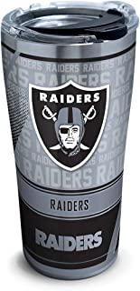 Tervis 1266672 NFL Oakland Raiders Edge Stainless Steel Tumbler with Clear and Black Hammer Lid 20oz,  Silver