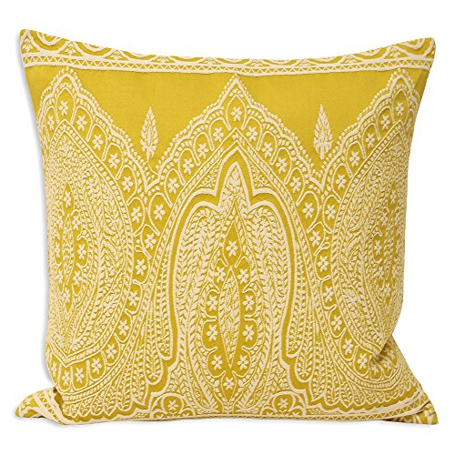 Riva Paoletti Paisley Cushion Cover - Yellow - Detailed Persian Paisley Design - Knife Edges - Hidden Zip - Machine Washable - PolyCotton - 50 x 50cm (20' x 20' inches) - Designed in the UK