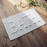 MindClip BATH文字バスマット さらさら 通気性 吸水 綿100% 丸洗い 洗濯機 40cm×60cm