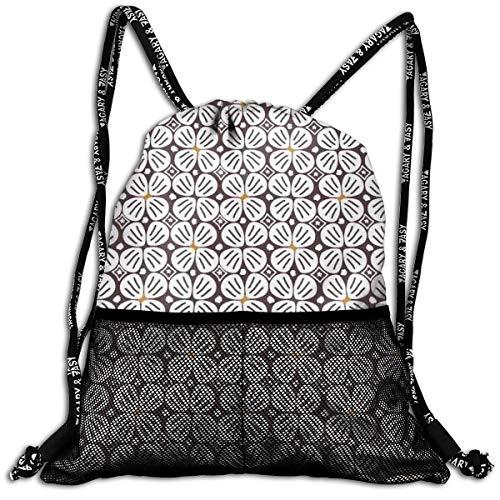 AZXGGV Drawstring Backpack Rucksack Shoulder Bags Gym Bag Sport Bag,Abstract Doodle Jasmine Motifs In Repeating Order Retro Print