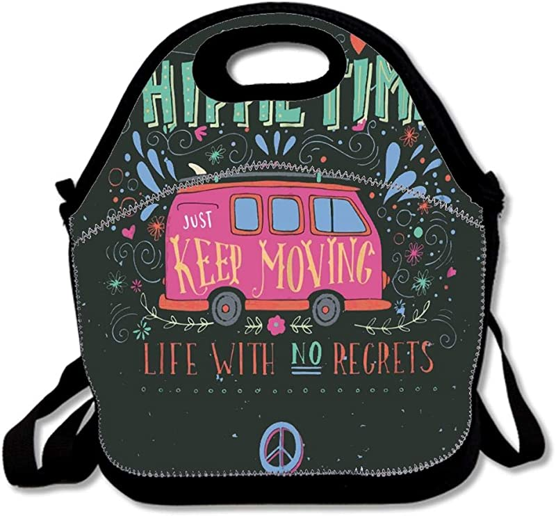 Flower Vintage Hippie Time With Mini Van And Lettering Life Waterproof Reusable Lunch Bags For Men Women Adults Kids Toddler Nurses With Adjustable Shoulder Strap Neoprene Lunch Tote