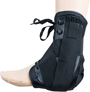 Funwill Ankle Stabilizer Brace Support Guard Protector for Joint Pain, Athletic Injuries, Recovery, Sprains - with Adjustable Straps for Left or Right Foot (m)