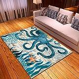 Alfombra Moderna Pulpo de mar Alfombra Antideslizante 3D para Sala De Estar Comedor Dormitorio Cocina Alfombra De Piso Tamaño: 120 x 170 cm