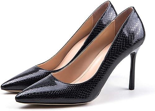GGXYJF Femmes Chaussures Talons Hauts Bout Pointu Femme Escarpins Chaussures De Soirée Serpent Partie De Printemps sur Le Bureau Les Les dames Chaussures