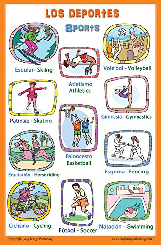 Spanish Language School Poster - Words About Sports - Wall Chart for Home and Classroom - Bilingual: Spanish and English Text