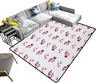 Girls Indoor Floor mat Little Mythical Horse Pony Unicorn with Stars and Dots Fantasy Theme Artwork Print 70