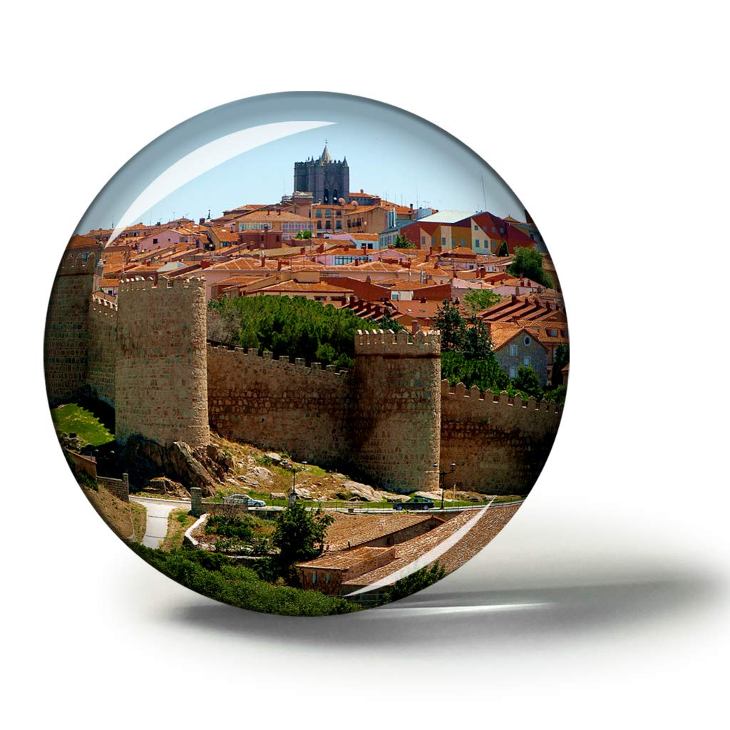 Hqiyaols Souvenir España Las murallas de Ávila Imanes Nevera Refrigerador Imán Recuerdo Coleccionables Viaje Regalo Circulo Cristal 1.9 Inches: Amazon.es: Hogar